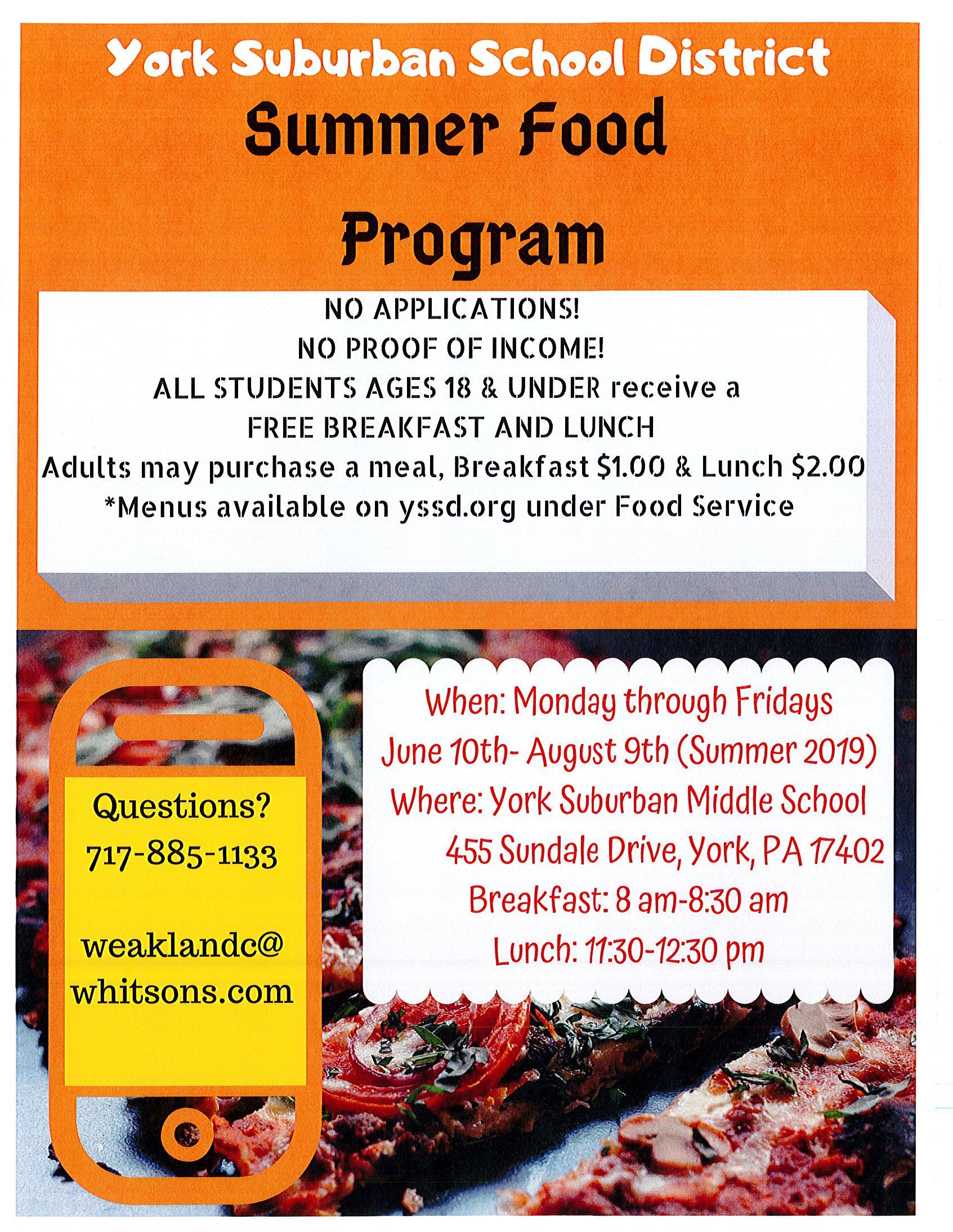 Summer Food Program - English
