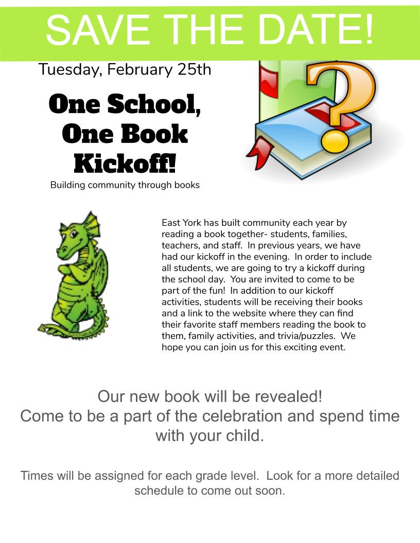 One School, One Book Kickoff, Feb 25th