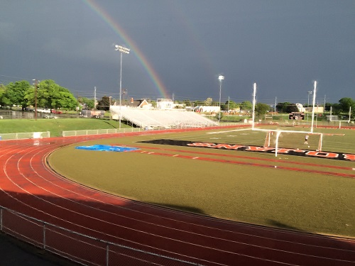 Rainbow over Dick May Field