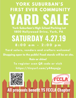 York Suburban High School's Community Yard Sale. April 27, 2019 from 8 AM - 2 PM.