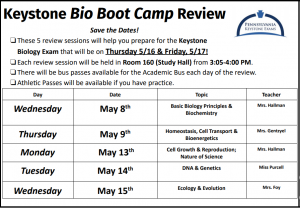 Biology Students: Save the Date - The Annual Keystone Biology Boot Camp will be held on the following dates: 5/8, 5/9, 5/13, 5/14, & 5/15