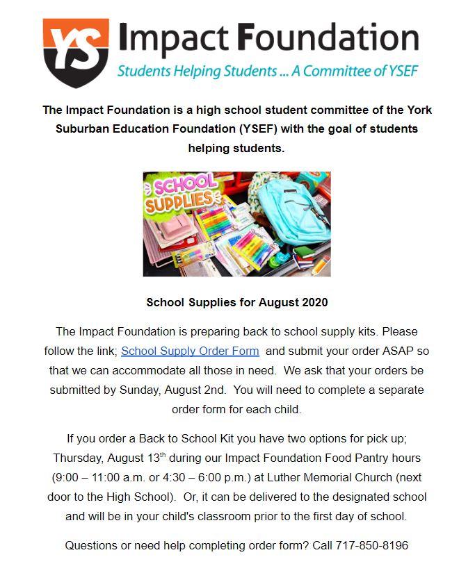 YSEF School Supply Flyer 2020