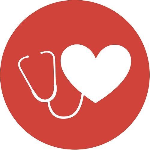 round icon heart stethoscope vector graphic design