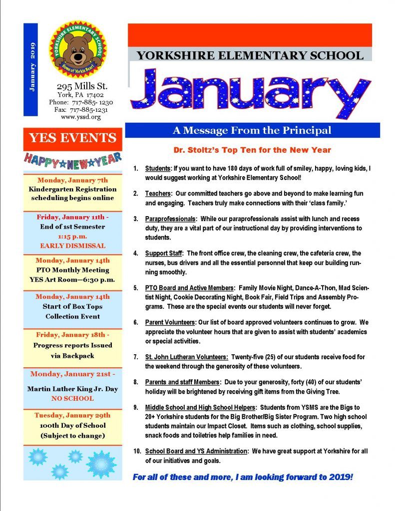 Januay Newsletter pg. 1
