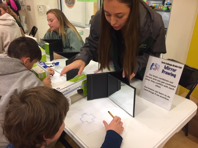 Volunteer with student using a mirror to draw