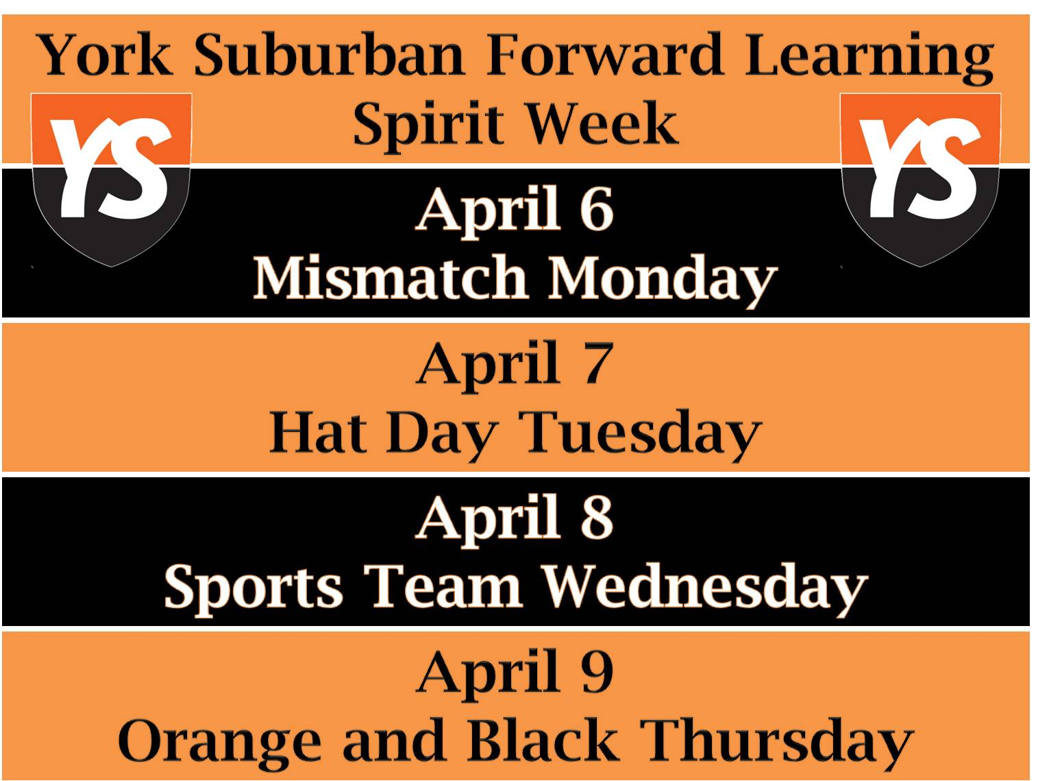 YS Spirit Week April 6-9